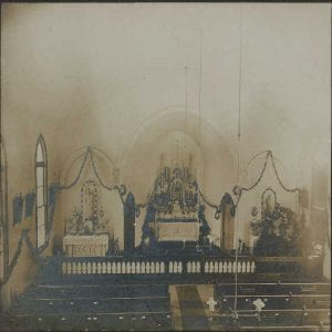 Inside of the old church decorated for Christmas in 1901.